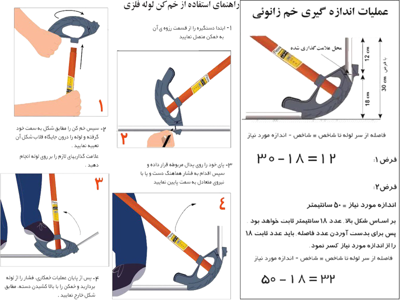 راهنمای اندازه گیری خم زانویی و استفاده از خم کن لوله فلزی